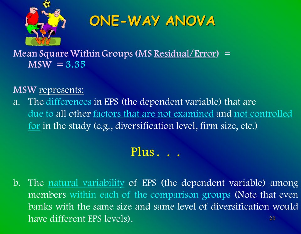 20 ONE-WAY ANOVA Mean Square Within Groups (MS Residual/Error) = MSW = 3.35 MSW represents: a.The differences in EPS (the dependent variable) that are due to all other factors that are not examined and not controlled for in the study (e.g., diversification level, firm size, etc.) Plus...