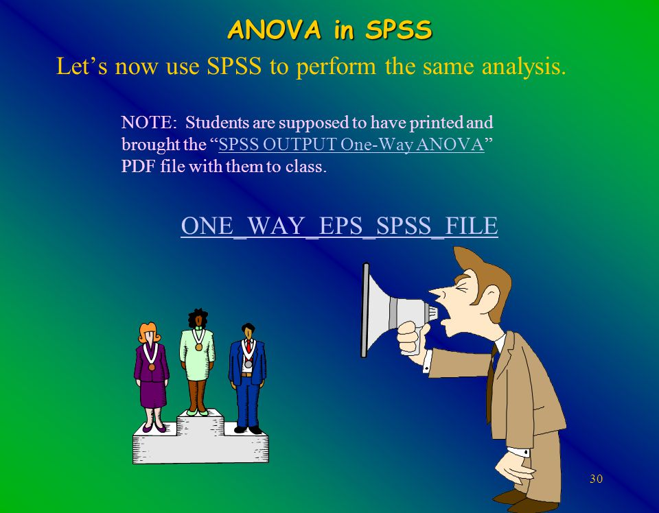 30 ANOVA in SPSS Let's now use SPSS to perform the same analysis.