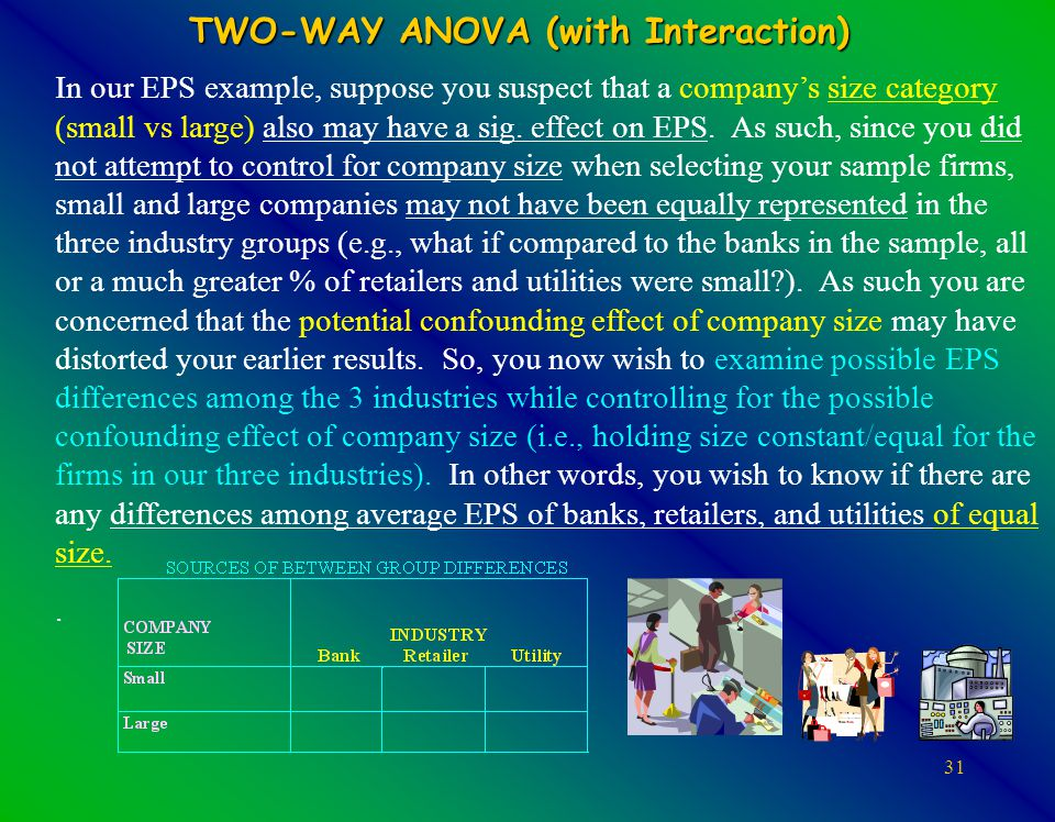 31 TWO-WAY ANOVA (with Interaction) In our EPS example, suppose you suspect that a company's size category (small vs large) also may have a sig.