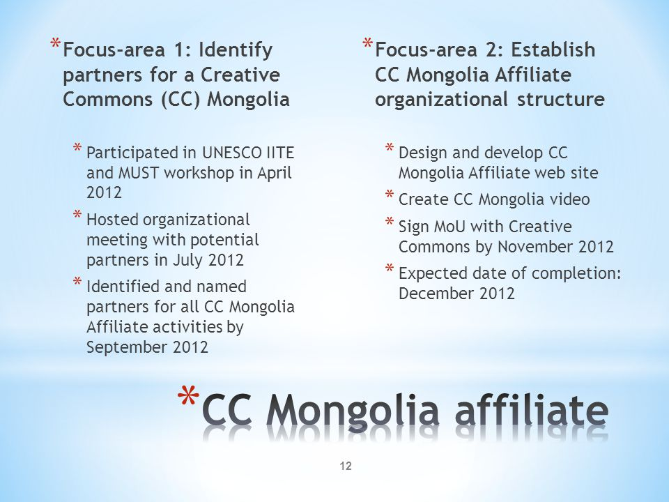 12 * Focus-area 1: Identify partners for a Creative Commons (CC) Mongolia * Participated in UNESCO IITE and MUST workshop in April 2012 * Hosted organ