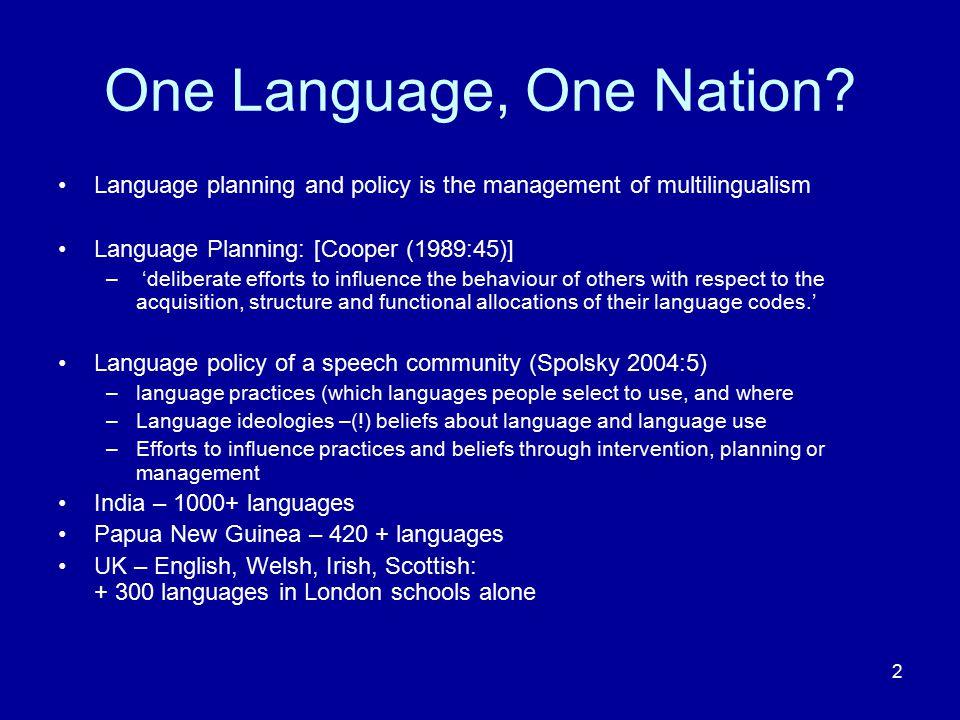 13 'Language Planning and Policy Goals: An Integrative Framework' (Hornberger, 2006:29)