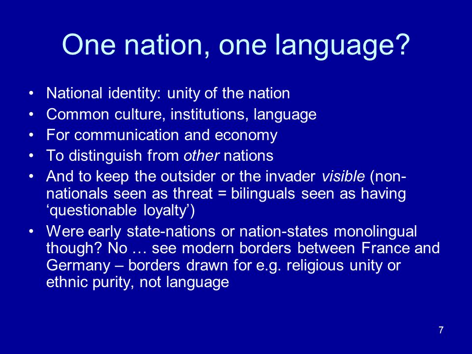 8 Language Ideologies Monolingualism: a language ideology Not single ideology just to 'hide' the truth (Althusser) But ONE ideology produced by a set of complex discourses (unity of the nation, defence from the outsider, for economics and communication) Other ideologies (common history, national flag) also produced by those discourses Discourses shift depending on power relations The production of knowledge (e.g.