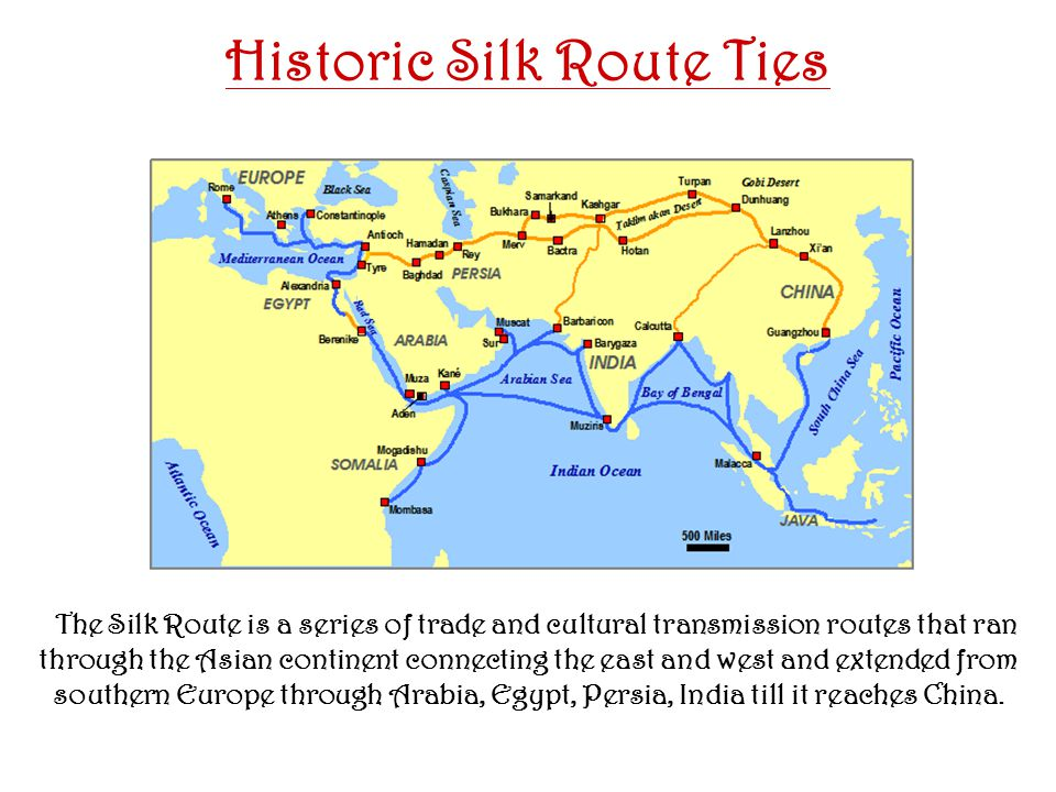 January 2008 Historic Silk Route Ties The Silk Route is a series of trade and cultural transmission routes that ran through the Asian continent connecting the east and west and extended from southern Europe through Arabia, Egypt, Persia, India till it reaches China.
