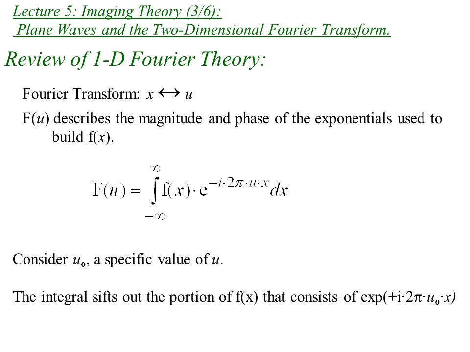Review: 1-D Fourier Theorems / Properties If f(x) ↔ F(u) and h(x) ↔ H(u), Performing the Fourier transform twice on a function f(x) yields f(-x).