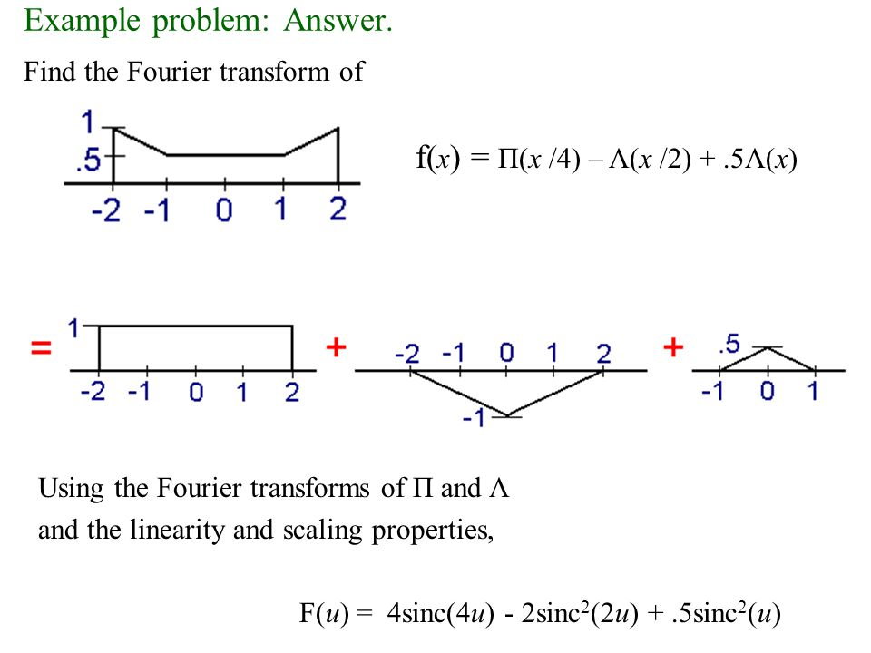 Example problem: Answer. Find the Fourier transform of Using the Fourier transforms of Π and Λ and the linearity and scaling properties, F(u) = 4sinc(