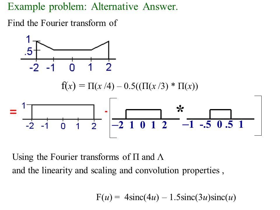 F(u,v) = i/2 [  (u+20,0) -  (u-20,0)] Fourier Transform f(x,y) = sin(40  x) u v v Real [F(u,v)] u v Imaginary [F(u,v)]