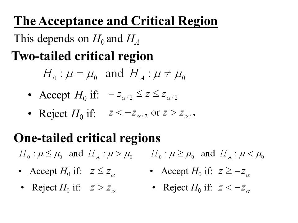 The Acceptance and Critical Region This depends on H 0 and H A Accept H 0 if: Reject H 0 if: Two-tailed critical region Accept H 0 if: Reject H 0 if: One-tailed critical regions Accept H 0 if: Reject H 0 if:
