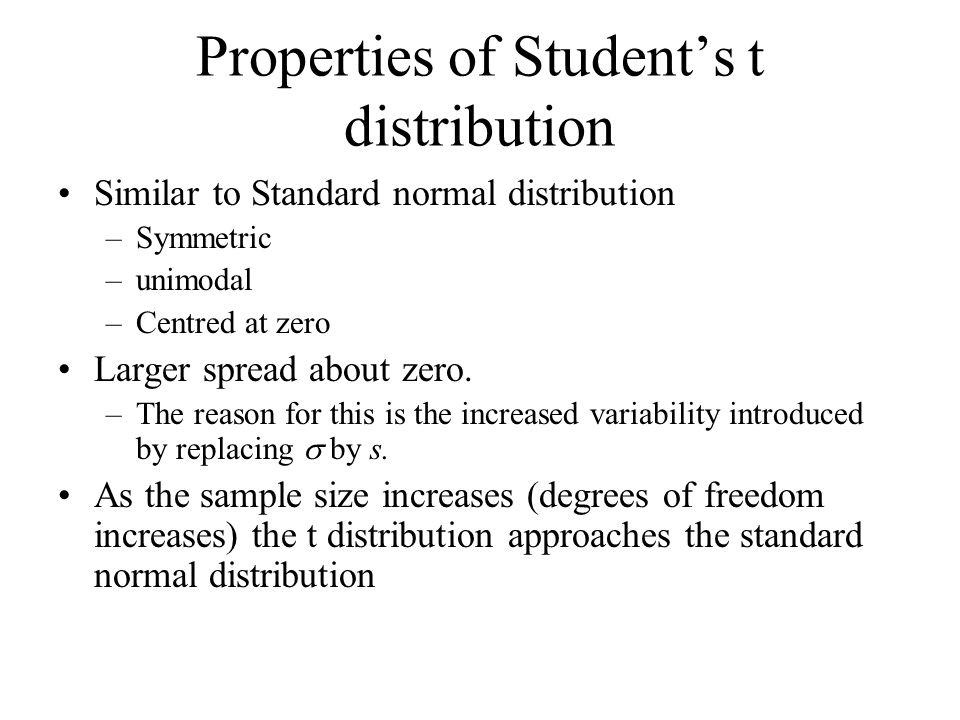 Properties of Student's t distribution Similar to Standard normal distribution –Symmetric –unimodal –Centred at zero Larger spread about zero.
