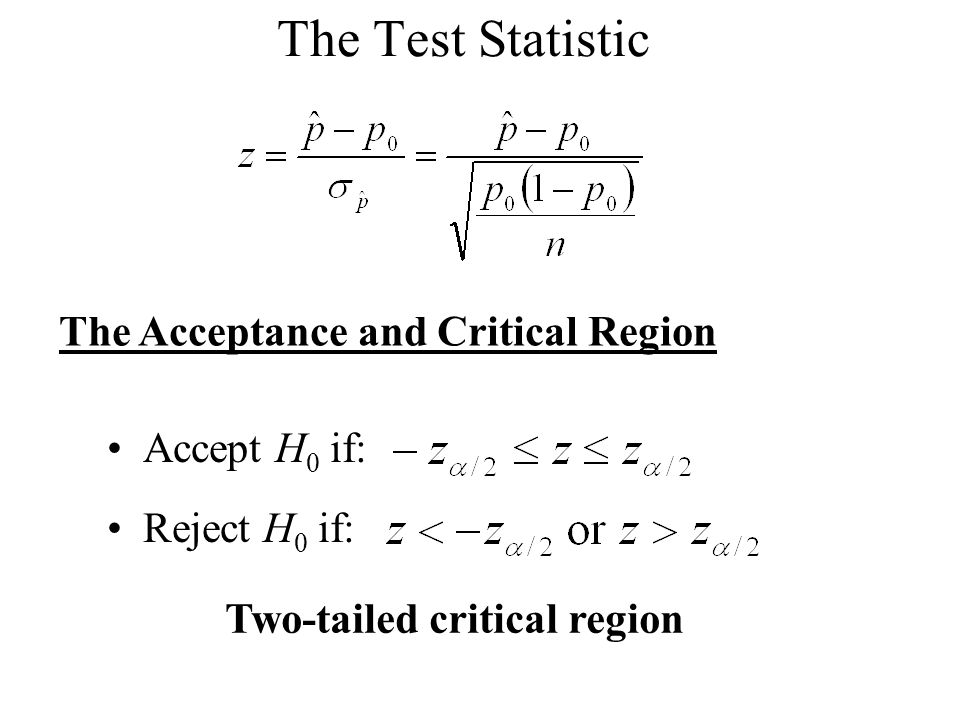 The Test Statistic The Acceptance and Critical Region Accept H 0 if: Reject H 0 if: Two-tailed critical region