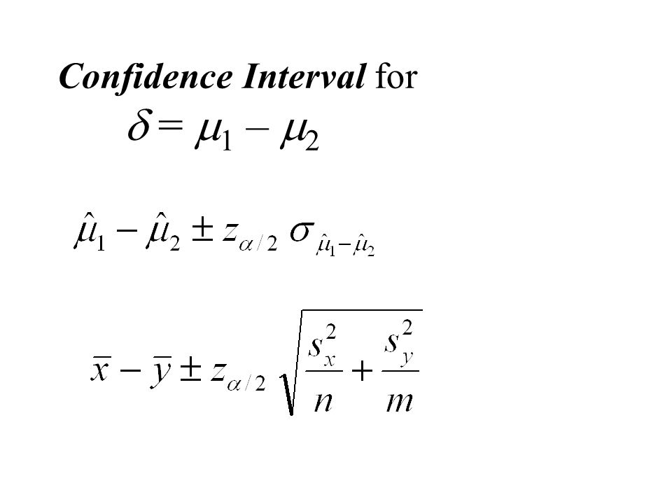 Confidence Interval for  =  1 –  2