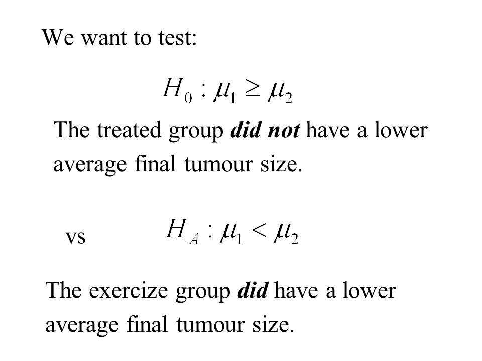We want to test: The treated group did not have a lower average final tumour size.