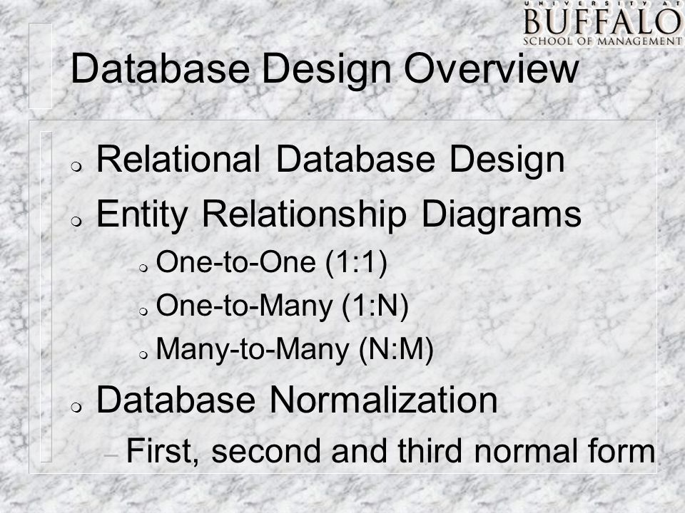Database Normalization Application of a number of rules to the relational model which will simplify the relations.