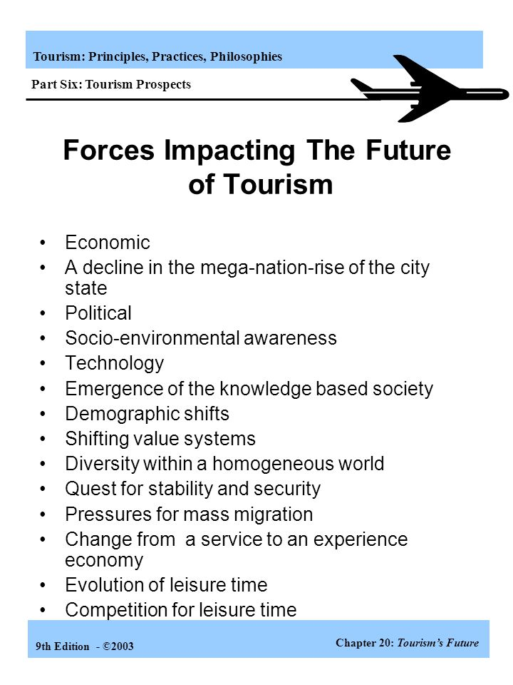 Tourism: Principles, Practices, Philosophies 9th Edition - ©2003 The World of Tourism in 2020 Chapter 20: Tourism's Future Part Six: Tourism Prospects