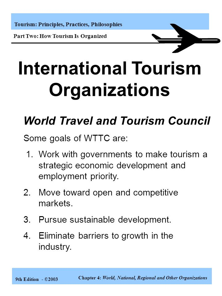 Tourism: Principles, Practices, Philosophies 9th Edition - ©2003 Tourism Organizations Tourism organizations can be viewed in the following ways: 1. G