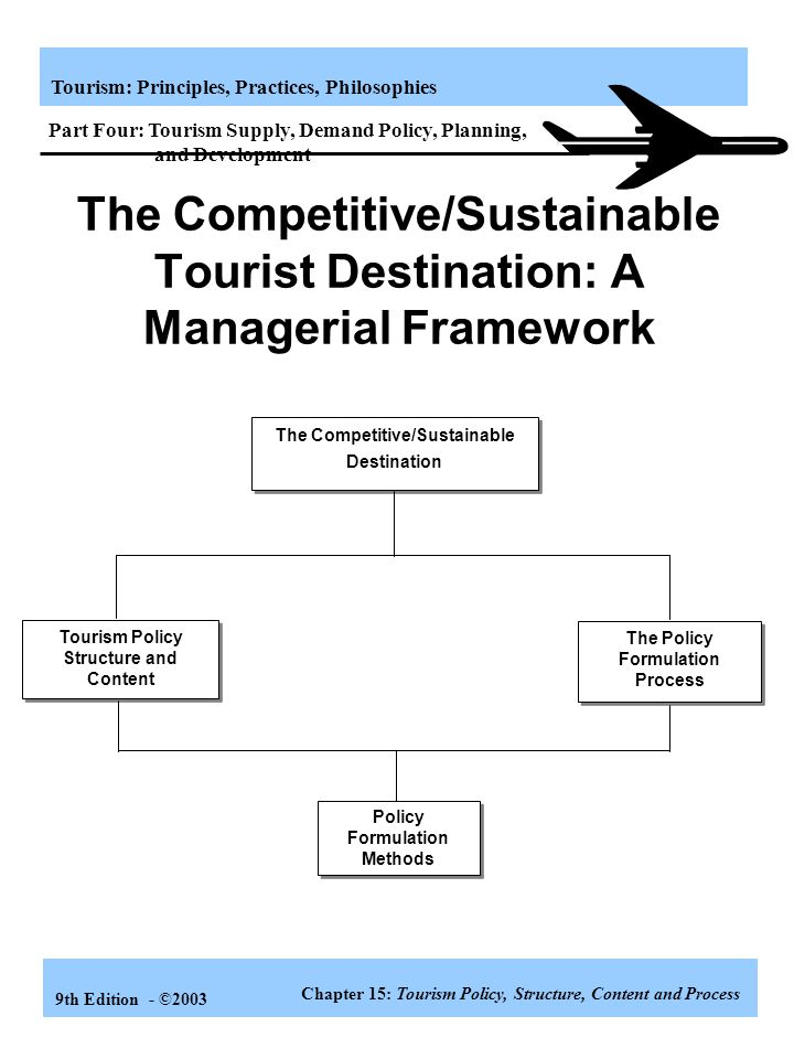 Tourism: Principles, Practices, Philosophies 9th Edition - ©2003 Learning Objectives Demonstrate the critical importance of tourism policy to the comp