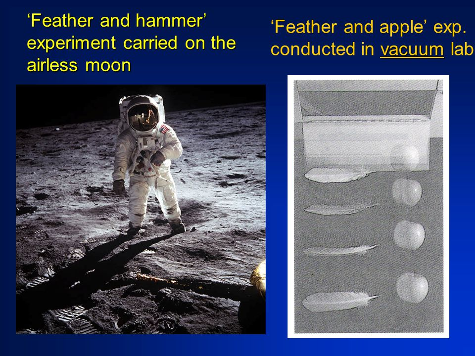 'Feather and hammer' experiment carried on the airless moon vacuum 'Feather and apple' exp.