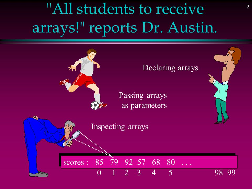 2 All students to receive arrays! reports Dr.Austin.