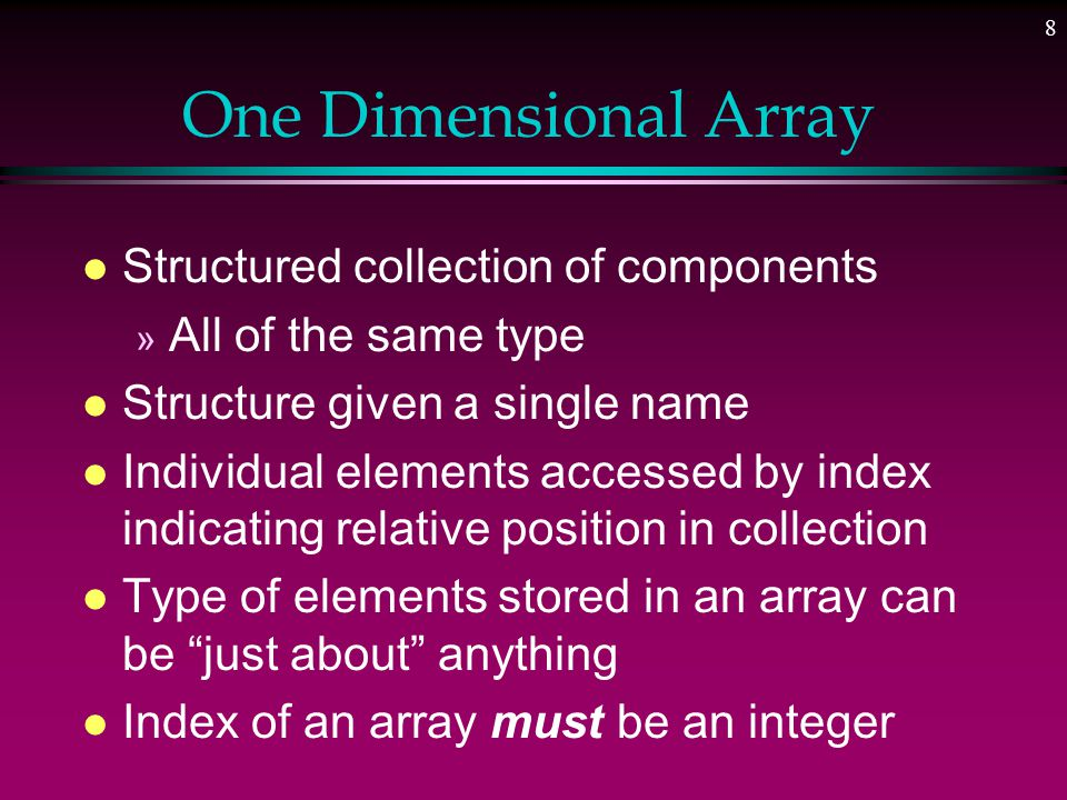 38 Design Problem l Use Parallel arrays l One array each for part num, descrip, qty, price l n th item in any one of the arrays associated with same n th item of all the arrays part #descripqtyprice A100xxx5 1.23 B25yyy 23 8.95 0 1 2