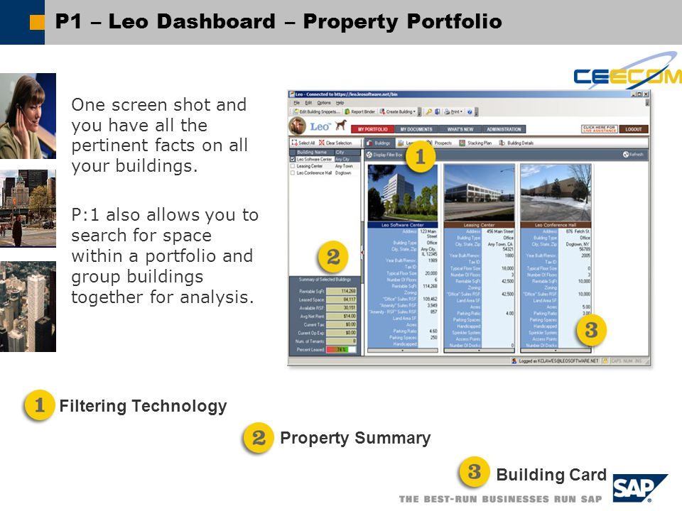 P1 – Leo Dashboard – Property Portfolio One screen shot and you have all the pertinent facts on all your buildings.