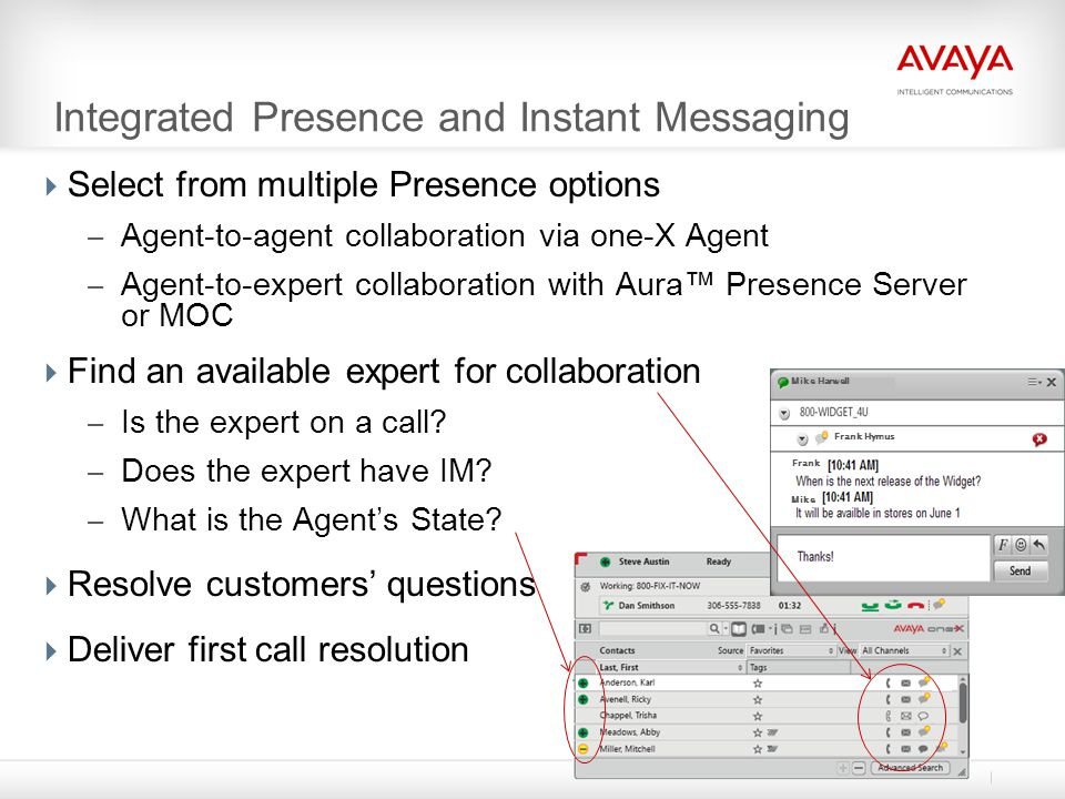 Integrated Presence and Instant Messaging  Select from multiple Presence options – Agent-to-agent collaboration via one-X Agent – Agent-to-expert col