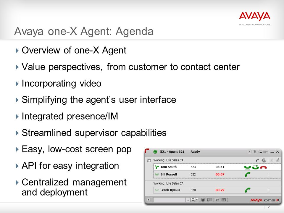 Avaya one-X Agent Work Item Paradigm Two Work items with 3 media elements  Optimized for agent work  Creates relationship between media elements  Innovative Action Bar dynamically adapts