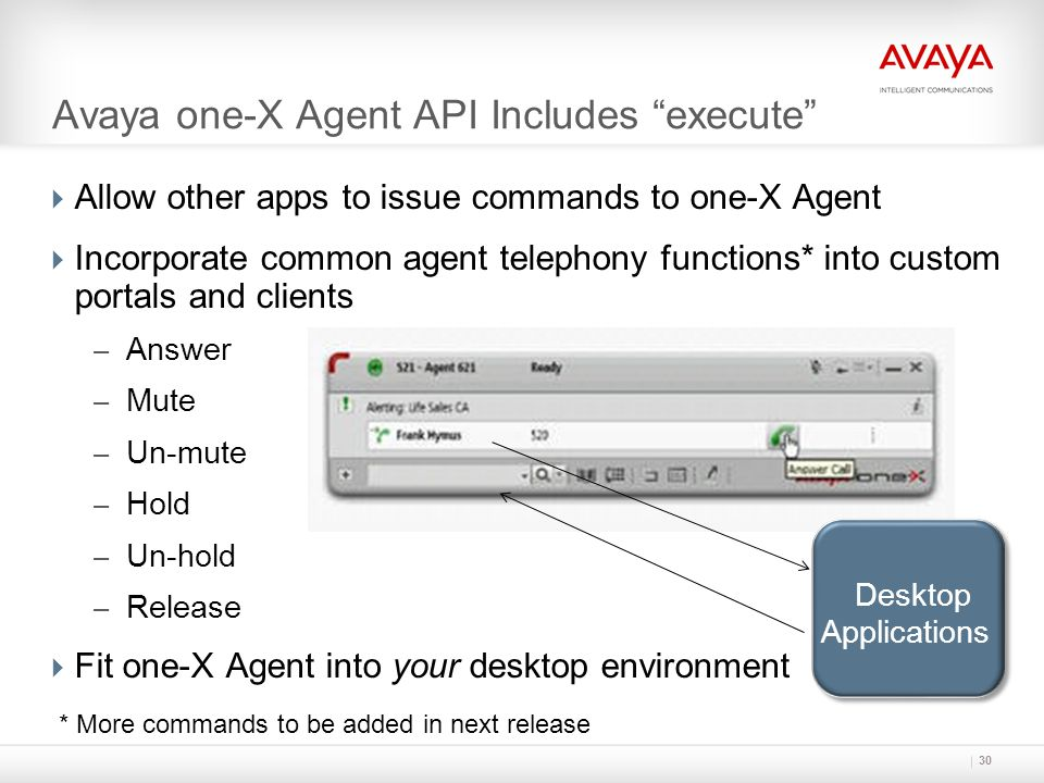 """Avaya one-X Agent API Includes """"execute""""  Allow other apps to issue commands to one-X Agent  Incorporate common agent telephony functions* into cust"""