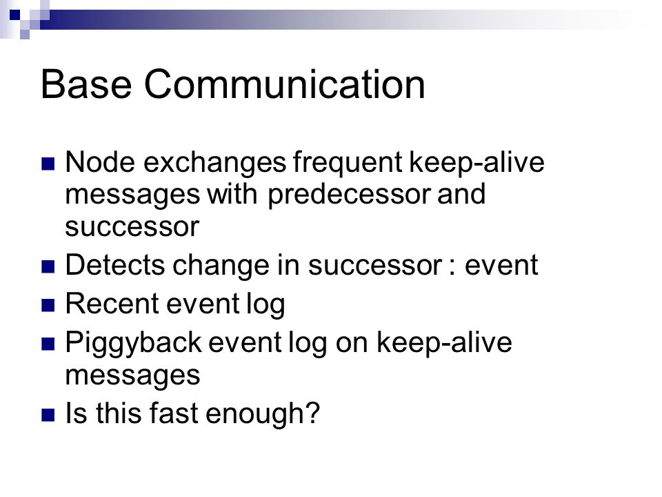 Base Communication Node exchanges frequent keep-alive messages with predecessor and successor Detects change in successor : event Recent event log Piggyback event log on keep-alive messages Is this fast enough