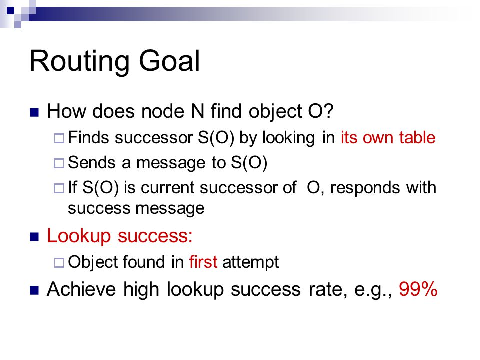 Routing Goal How does node N find object O.