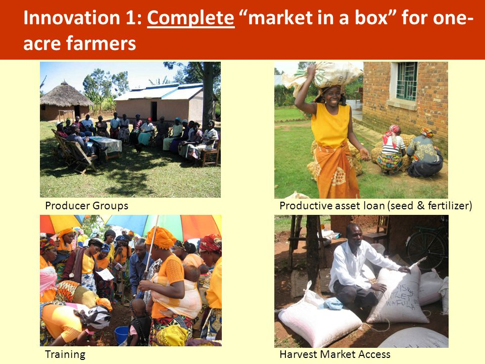 "Innovation 1: Complete ""market in a box"" for one- acre farmers Producer GroupsProductive asset loan (seed & fertilizer) TrainingHarvest Market Access"