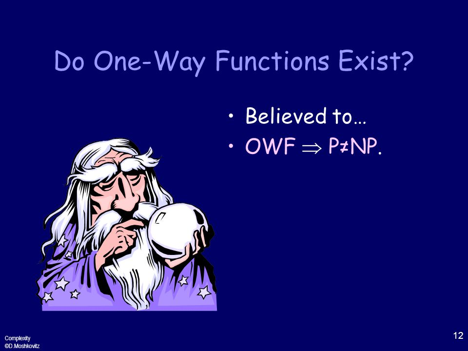 12 Complexity ©D.Moshkovitz Do One-Way Functions Exist Believed to… OWF  P≠NP.