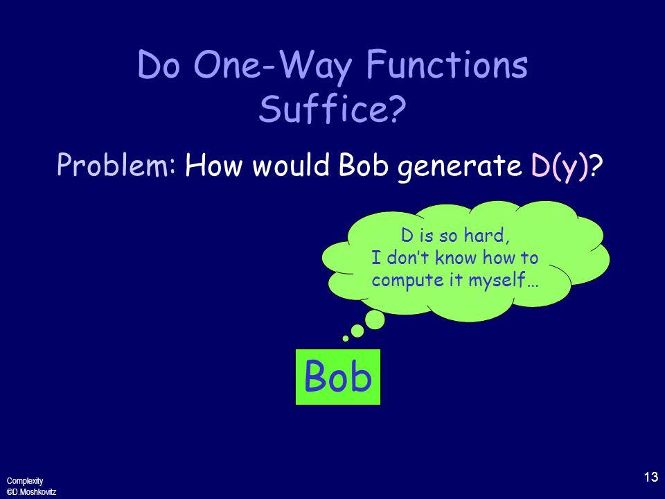 13 Complexity ©D.Moshkovitz Do One-Way Functions Suffice.