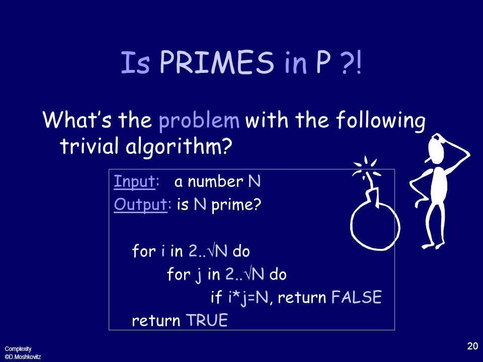 20 Complexity ©D.Moshkovitz Is PRIMES in P .