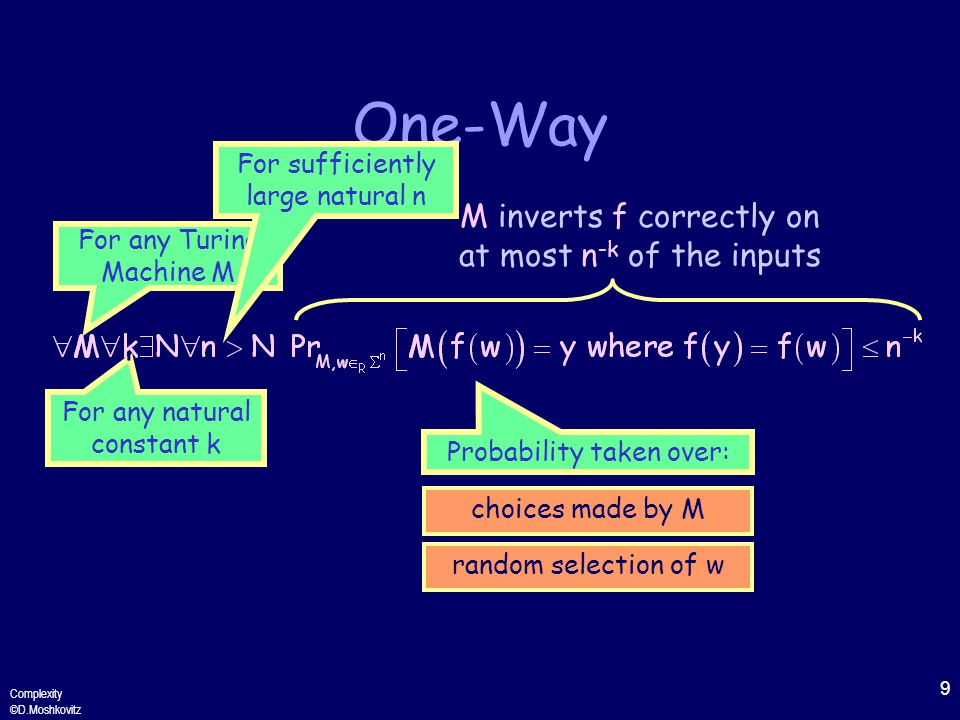 9 Complexity ©D.Moshkovitz One-Way For any Turing Machine M For any natural constant k For sufficiently large natural n Probability taken over: choices made by M random selection of w M inverts f correctly on at most n -k of the inputs