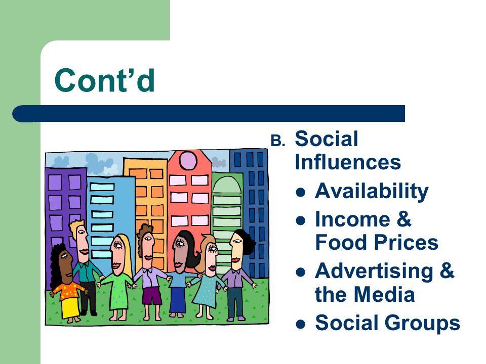 Cont'd B. Social Influences Availability Income & Food Prices Advertising & the Media Social Groups