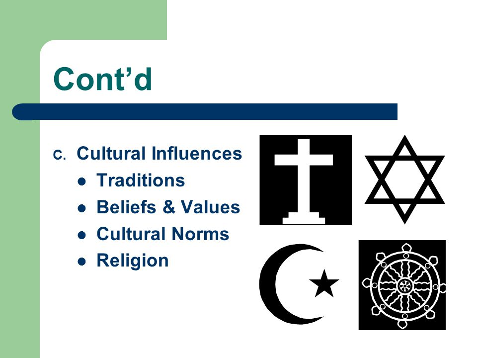 Cont'd C. Cultural Influences Traditions Beliefs & Values Cultural Norms Religion