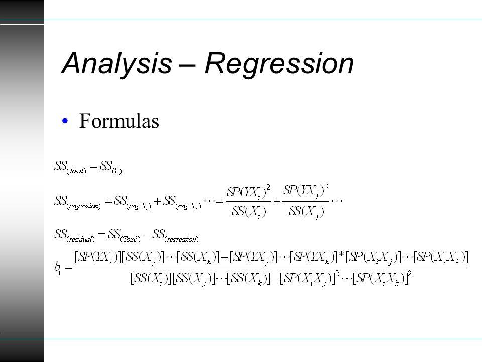 Analysis – Regression Formulas