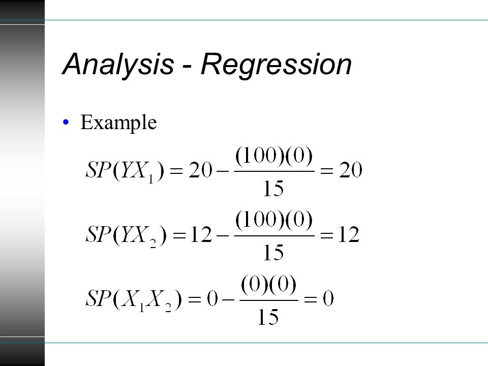 Analysis - Regression Example