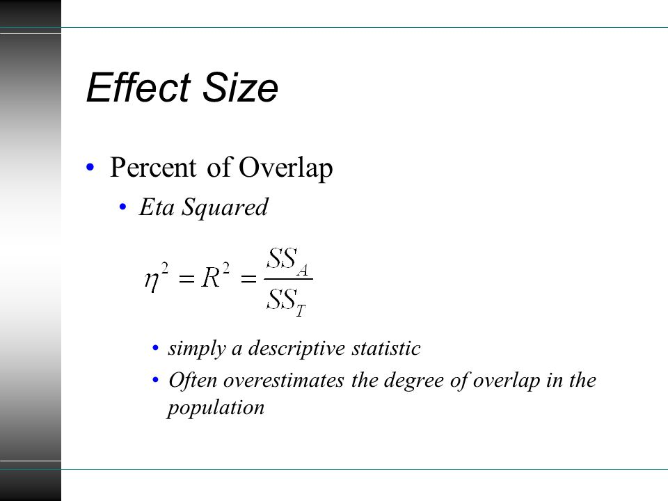 Effect Size Percent of Overlap Eta Squared simply a descriptive statistic Often overestimates the degree of overlap in the population