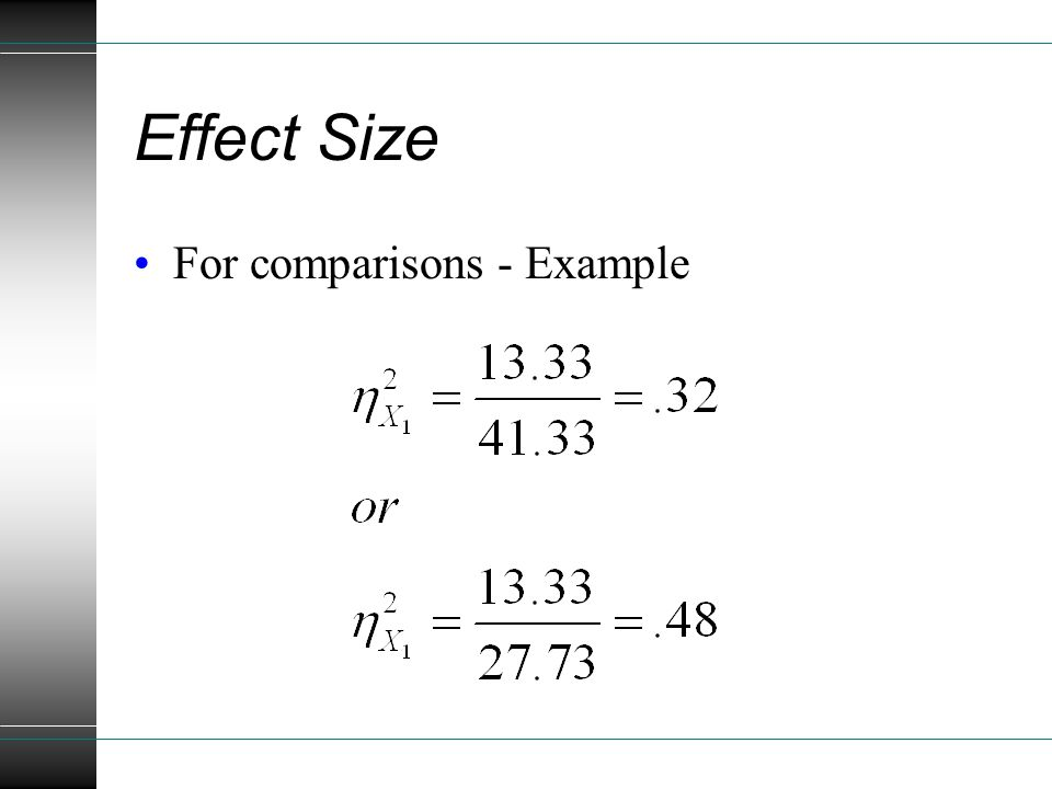 Effect Size For comparisons - Example