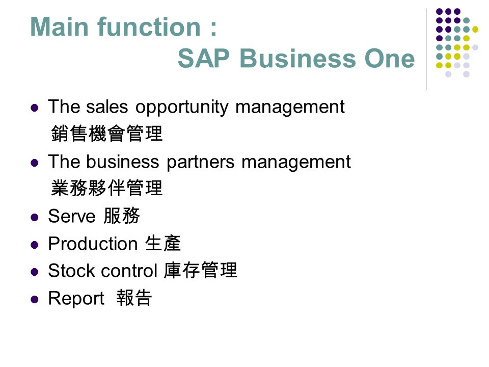 Main function : SAP Business One The sales opportunity management 銷售機會管理 The business partners management 業務夥伴管理 Serve 服務 Production 生產 Stock control