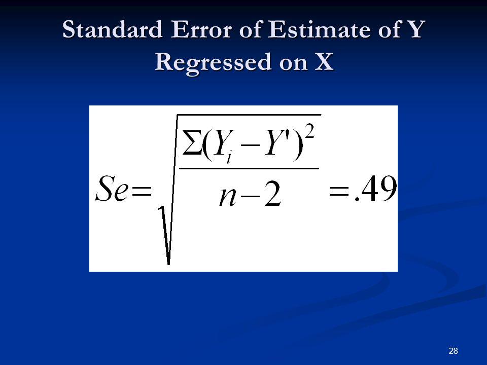 28 Standard Error of Estimate of Y Regressed on X