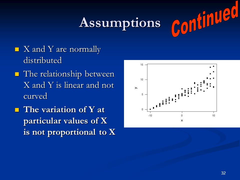 32 Assumptions X and Y are normally distributed X and Y are normally distributed The relationship between X and Y is linear and not curved The relatio