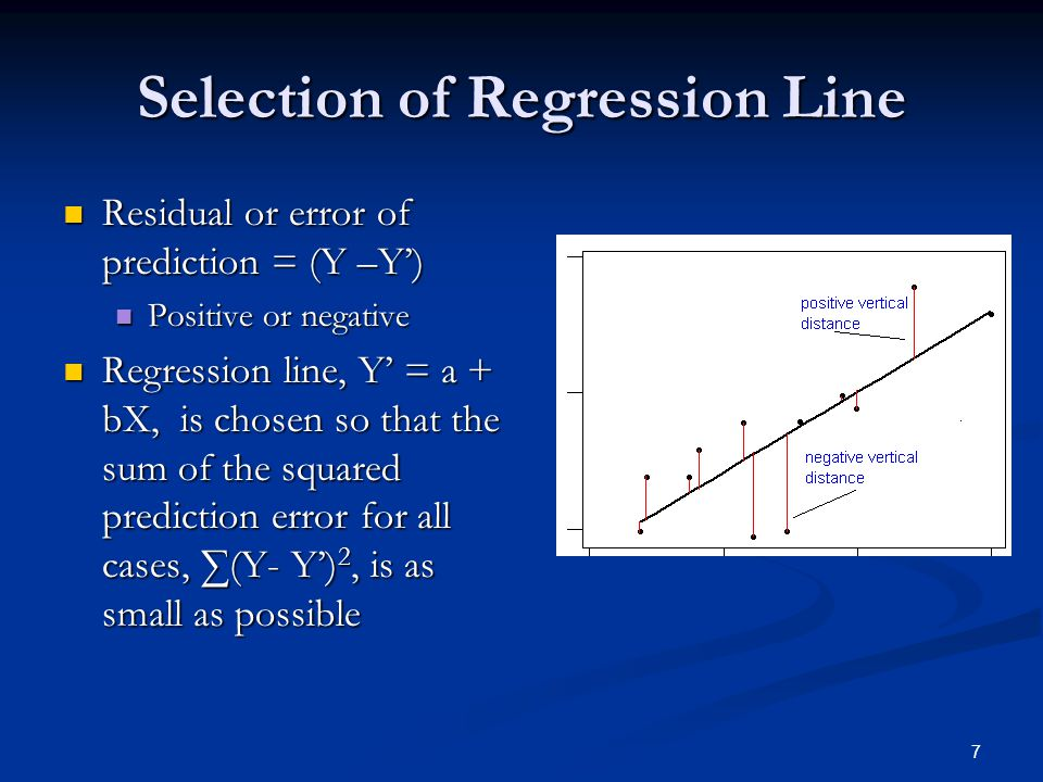 7 Selection of Regression Line Residual or error of prediction = (Y –Y') Residual or error of prediction = (Y –Y') Positive or negative Positive or ne