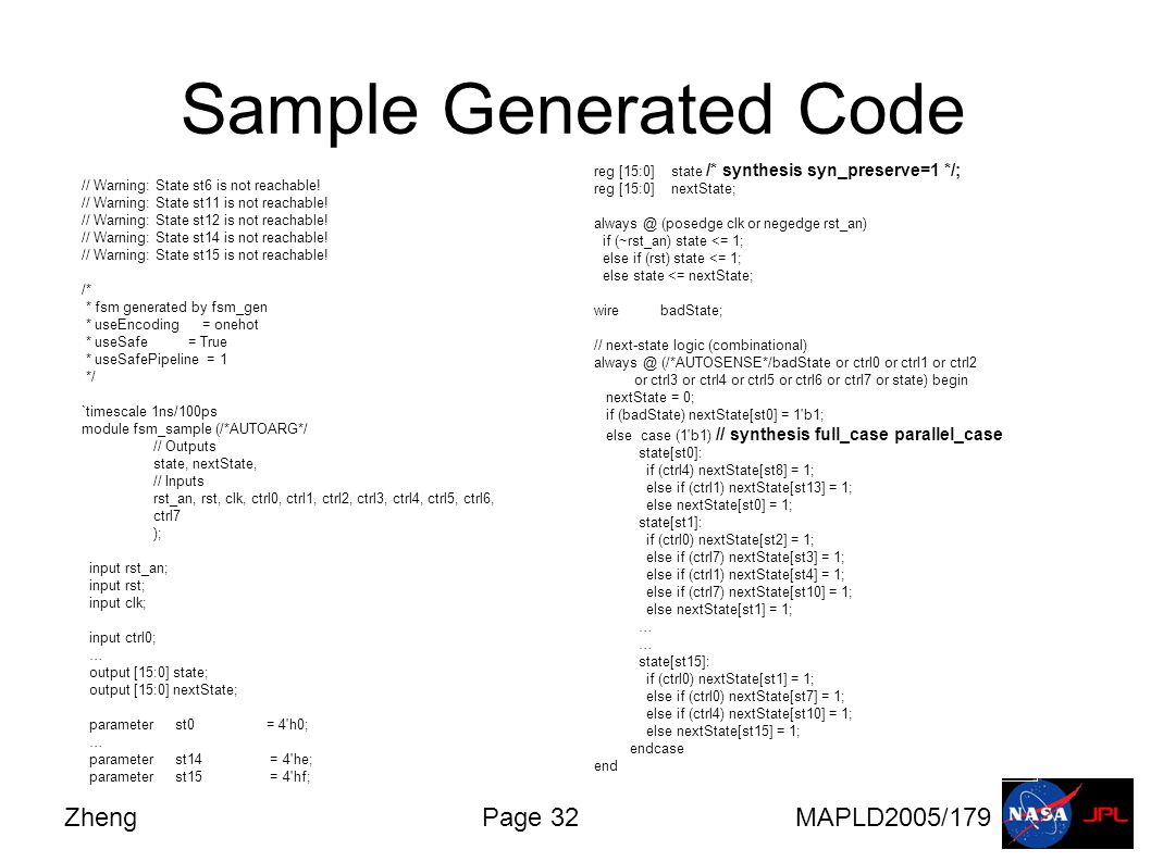 ZhengPage 32MAPLD2005/179 Sample Generated Code // Warning: State st6 is not reachable.