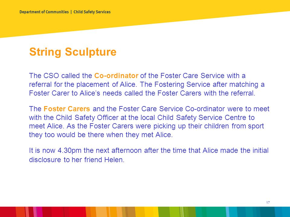 String Sculpture The CSO called the Co-ordinator of the Foster Care Service with a referral for the placement of Alice.