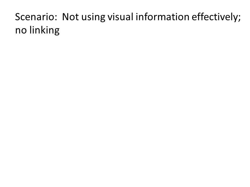 Scenario: Not using visual information effectively; no linking