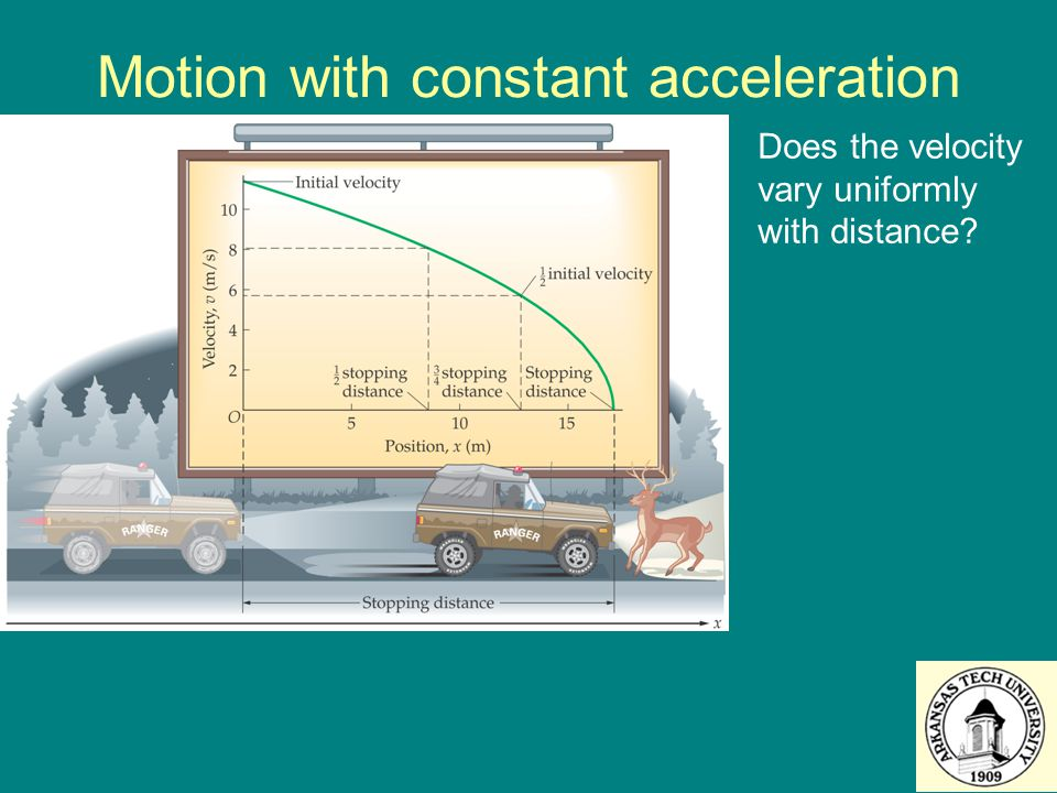 Motion with constant acceleration Does the velocity vary uniformly with distance?