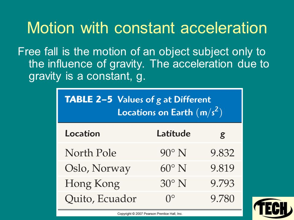 Motion with constant acceleration Free fall is the motion of an object subject only to the influence of gravity. The acceleration due to gravity is a