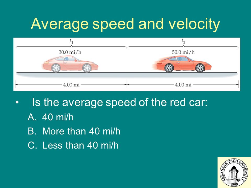 Is the average speed of the red car: A.40 mi/h B.More than 40 mi/h C.Less than 40 mi/h Average speed and velocity