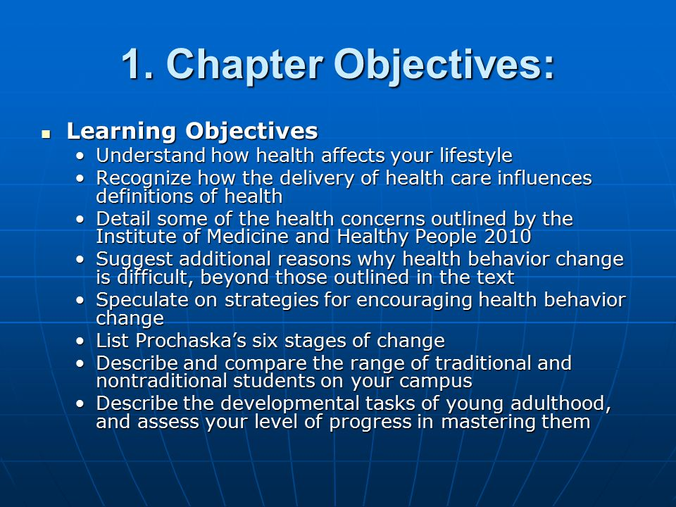 1. Chapter Objectives: Learning Objectives Learning Objectives Understand how health affects your lifestyleUnderstand how health affects your lifestyl